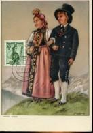 10621 AUSTRIA, Maximum  1958  Trachten,  20g.  Austrian  Costume, Voralberger Trachten - Maximumkarten (MC)