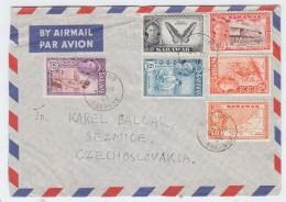 Sarawak/Czechoslovakia BUTTERFLIES CRAFTS MAPS AIRMAIL COVER 1954 - Sellos