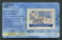 ITALIA TESSERA FILATELICA 2007 - ANNIVERSARIO FONDAZIONE ANTONIO GENOVESI SALERNO - 189 - 6. 1946-.. Republik
