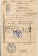 Ville De BRUXELLES - 1900 INSCRIPTION AUX REGISTRES DE LA POPULATION - Documentos Históricos