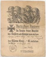 VORLÄUFIGER AUSSVEIS - PRELIMINARY REPORT 1918 In The Name Of KAISER WILHELM II - Signed By General Fritz Von TRIEBIG - Documentos Históricos