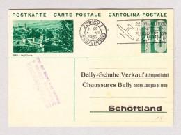 Schweiz Ganzsache 10Rp  #128.012 Bellinzona  Ges 4.7.1932 Zürich Privat Zudruck Bally Schöftland - Entiers Postaux