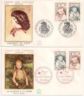 CROIX ROUGE 1965, CAGNES SUR MER Exposition RENOIR, STRASBOURG PREMIER JOUR. - Marcophilie (Lettres)
