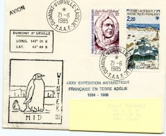 MIDWINTER 85- CAD DUMONT D'URVILLE 21 Juin 1985 Au Verso CAD Arrivée à Abidjan - French Southern And Antarctic Territories (TAAF)