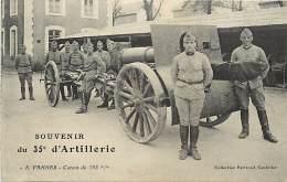 - Themes Divers -ref-M908- Militaria - Vannes - Morbihan - Souvenir Du 35e D Artillerie - Regiment - Militaires - Canon - Régiments
