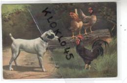 Animaux - Chien Faisant Face Au Coq Poules Sur Tronc D´arbre - FARM YARD FRIENDS CPA Couleur Illustrateur ? - Chiens