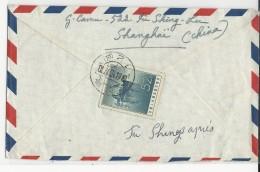 CHINE - 1961 - ENVELOPPE Par AVION De SHANGHAÏ Pour DRAIZE (ARDENNES) Avec TIMBRE YVERT POSTE AERIENNE N°53 - 1949 - ... People's Republic
