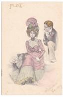 Carl Jozsa Artist Signed Image, Romance Couple 'Flirt' Series, C1900s Vintage Postcard - Illustrators & Photographers