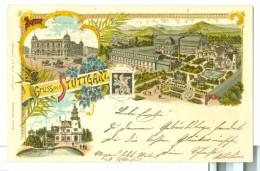 1896 Gruss Aus Stuttgart Austellung Panorama Pc Used  Multiview To Metzingen. - Exhibitions