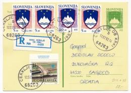 SLOVENIE - 7 Cartes Postales (entiers) - Affranchissements Mixtes Slovénie Yougoslavie 1992 - Slovénie