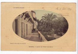 Bandol (83) - Jardins De L'Hôtel Des Bains. Bon état, Gauffrée, Correspondance Au Dos (1917). - Bandol