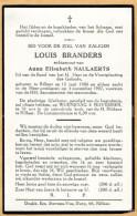 Doodsprentje / Bidprentje / Avis De Décès / Mortuaire / Louis Branders / X Anna Naulaerts / Rillaar / 1957 - Religion & Esotericism
