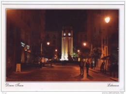 Downtown By Night Postcard Beirut Clock From Lebanon  , Carte Postale Liban Libanon - Lebanon