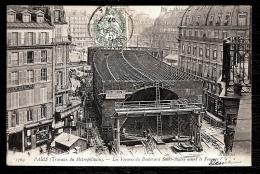 CPA ANCIENNE- PARIS (75)- CONSTRUCTION DU MÉTRO- LES FERMES DU BOULEVARD SAINT-ANDRÉ AVANT LE FONCAGE- TRES GROS PLAN - Metropolitana, Stazioni