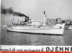 SOUVENIR DE MON PASSAGE SUR LE DJENNE BATEAU COMPAGNIE PAQUET EDIT. LABO PHOTO TRANSPORT TROUPES MILITAIRES - Dampfer