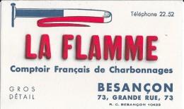 LA FLAMME Comptoir Français De Charbonnages 73, Grande Rue, 73 BESANCON Téléphone 22.52 - Buvards, Protège-cahiers Illustrés