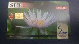 Sri Lanka-(sri08)-water Lily-flowers-(rs.100)-used+1card Prepiad Free - Sri Lanka (Ceylon)