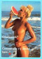 Cpm Humour Sexy Gourmande Comme Elle Sy Prend Bien Femme Blonde Seins Nus Mangeant Une Pastèque Breasts Nude Nu Erotique - Fine Nudes (adults < 1960)