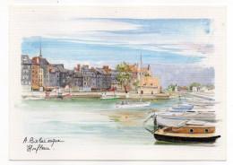 HONFLEUR--Aquarelle Originale A.Balaresque--Le Bassin à Flot ,cpm N° 88  éd Yvon--carte Toilée - Honfleur