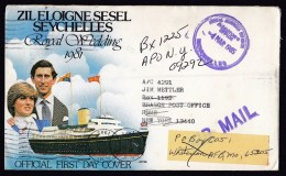 Seychelles: Official Cover To USA, 1985, Postage Free, 2x Forwarded, Various Cancels (traces Of Use) - Seychellen (1976-...)