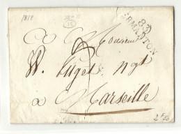 Yonne - Vermanton Pour Marseille. MP 83/VERMANTON Sur LSC De 1818. Cote De La MP: Indice 15=140euros - Marcophilie (Lettres)