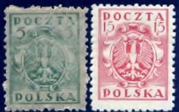 Polen 1919, Poland, Polska, Pologne, SG 105, 107, YT 160, 162, Mi 102, 104, MNH