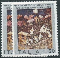 Italia, Italy 1974; Congresso Internazionale Della Vite E Del Vino,  Vine And Wine. 2 Valori. - Vins & Alcools