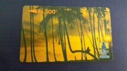 Sri Lanka-(2srld)-palmtrees At Sunset Rev Letter C-(rs.500)-used Card+1card Prepiad Free - Sri Lanka (Ceylon)