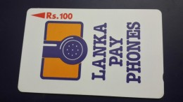 Sri Lanka-(16srla)-lanka Pay Phones Logo-(rs.100)-used Card+1card Prepiad Free - Sri Lanka (Ceylon)