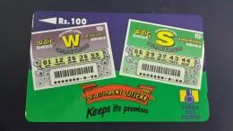 Sri Lanka-(36srlb)-development Lottery Keeps Its Promises-(rs.100)-used Card+1card Prepiad Free - Sri Lanka (Ceylon)
