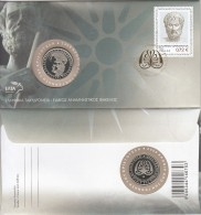 Greece - FDC, 2400 Years Since The Birth Of Aristotle, 05/16, With Medal, Unused - FDC