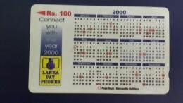 Sri Lanka-(44srlb)-calender 2000-(rs.100)-used Card+1card Prepiad Free - Sri Lanka (Ceylon)