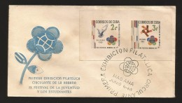 B)1965 CUBA-CARIBE, DOVE, EMBLEM,  HAND GRIP,  PHILATELIC EXHIBIT, 8TH WORLD YOUTH TRIFESTIVAL FOR PEACE AND FRIENDSHIP - Otros