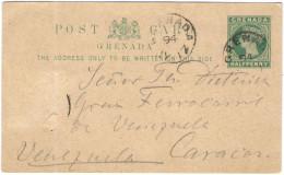 GRENADA - 1894 - Halfpenny + 1 Missed Stamp - Postkarte - Carte Postale - Post Card - Intero Postale - Entier Postal ... - Grenada (...-1974)
