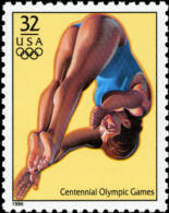 Sc#3068d 1996 USA Olympic Games Stamp- Women's Diving Athletic - Summer 1996: Atlanta