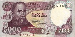 COLOMBIA 5000 PESOS ORO 1987 P-435a VF S/N 30751784 [CO435a] - Colombia