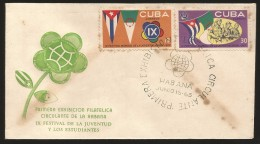 B)1965 CUBA-CARIBE, STUDENTS, FLAGS OF CUBA AND ALGERIA, EMBLEM, GUERRILLAS, 9TH COMMUNIST WORLD YOUTH AND STUDENTS CONG - Kuba