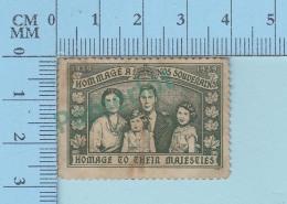 Vignette Cinderella - Hommage à Nos Souverains,  Hommage To Ther Majesties 1939- Pas De Gomme, Vintage Ancien  - 2 Scans - Erinnophilie
