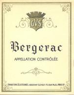 1 Etiquette Ancienne De VIN BERGERAC - GVS PARIS - Bergerac