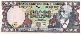 ECUADOR 50000 SUCRES 1999 P-130c UNC SERIE AG ONE SECURITY THREAD - Ecuador