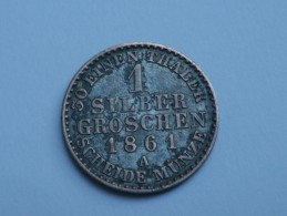 ALLEMAGNE PRUSSE 1  SILBER GROSCHEN 1861 A    WILHELM I    KM# 485 - [ 1] …-1871 : Etats Allemands