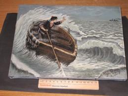 MARINE-Matelot En Perdition Sur Une Barque - Signée Gaston PAQUAY Ou JAQUAY -datée Du 21/9/25 - 23/32 Cm - Oils