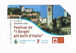 TELECOM ITALIA - C. & C. F4568 -  2008 BORGHI D' ITALIA: CASTIGLIONE DEL LAGO, CORCIANO (UMBRIA) -  USATA - (RIF. CP) - Public Special Or Commemorative