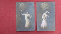 > New Year    Lot Of 2 Cards  Lady With Bottle & Clock    RPPC    Ref 2265 - New Year
