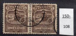 Mexico 1898 1 Peso Steam Train (Railway) No Wmk Used Pair (SG263, Scott289)