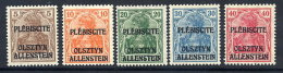 ALLENSTEIN 1920 Overprints On Germany Definitives Unissued Values, MNH /**.  Michel II-VI - Germany