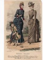 Gravure De Mode Musée Des Familles Modes Vraies Larivière Goubaud Avril1884 Femmes Enfant Fille Chien - Prints & Engravings