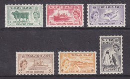 Falkland Islands:Elizabeth II, 1955, Set Of 6. 1/2d - 1/=, MH * - Falkland