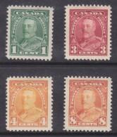 Canada: George V 1935, Definitives, 1c, 3c, 4c, 8c,  MH * - Unused Stamps