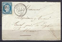 Gers, 25c Bleu Noir, Obliteration GC 1480 De Saint-Puy En 1875 - Marcophilie (Lettres)